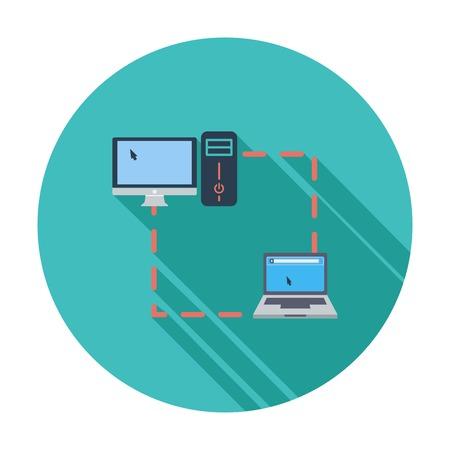 sync: Computer sync single flat icon. Illustration