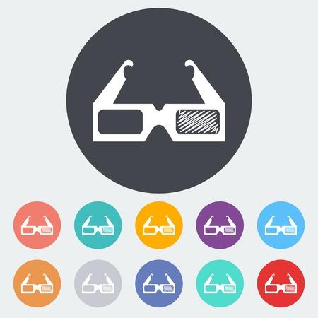 Glasses 3D single icon. Illustration