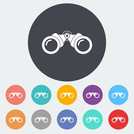 search button: Binoculars flat icons Illustration