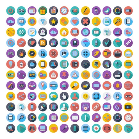 social gathering: Social media and network color flat icons.