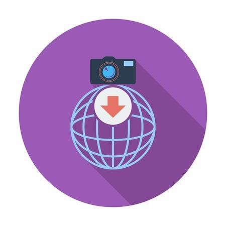 Photo download single icon. Vector