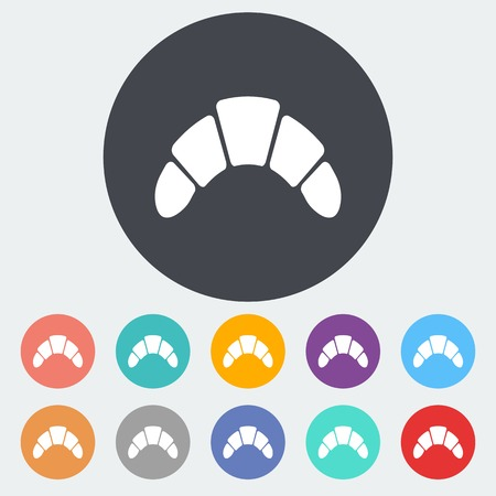 Croissant. Single flat icon on the circle. Vector illustration. Vector