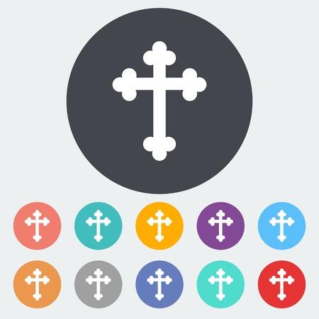 simbolos religiosos: Cruz. Solo icono de plano sobre el círculo. Ilustración del vector.