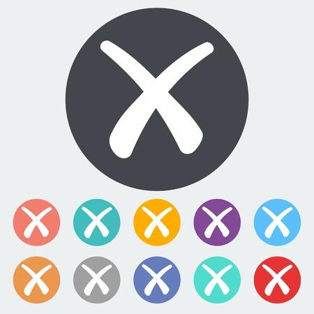 abort: Delete button. Single flat icon on the circle. Vector illustration.
