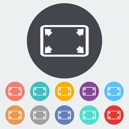 wider: Deploying video. Single flat icon on the circle. Vector illustration.