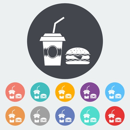 eating pastry: Fast food. Single flat icon on the circle. Vector illustration. Illustration