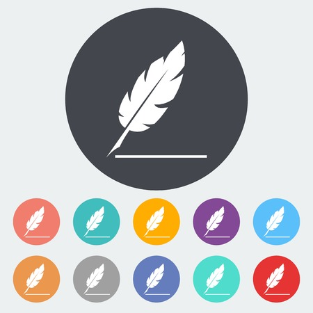 Feather. Single flat icon on the circle. Vector illustration.