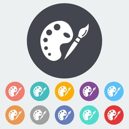 artist painting: Fine Arts. Single flat icon on the circle. Vector illustration.