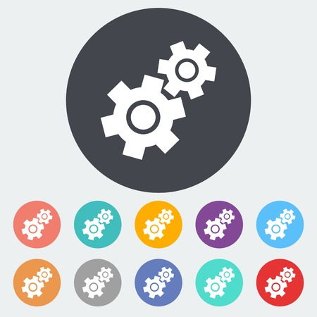 Gear. Single flat icon on the circle. Vector illustration. Vector