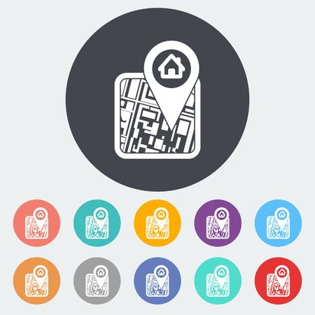 GPS. Single flat icon on the circle. Vector illustration. Illustration