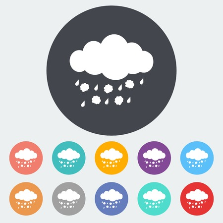 hailstorm: Hagel. Single flat icon on the circle. Vector illustration.