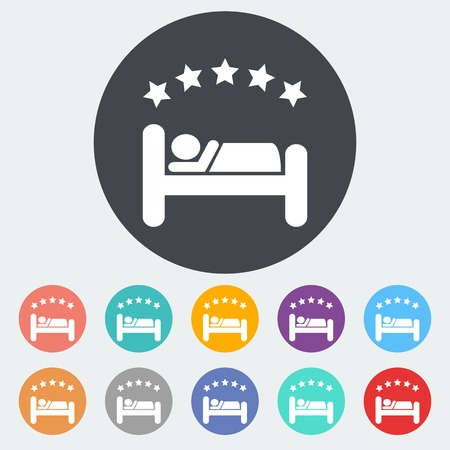 lying in bed: Hotel. Single flat icon on the circle. Vector illustration. Illustration