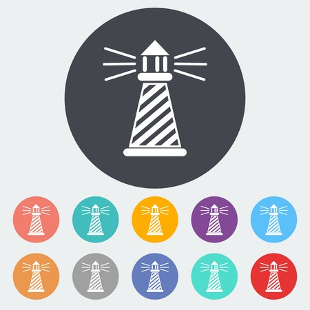 lighthouse keeper: Lighthouse. Single flat icon on the circle. Vector illustration.