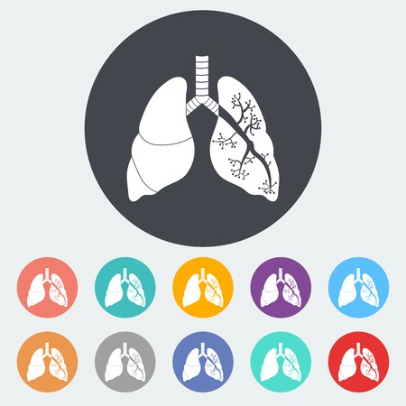 Lungs in Black and White. Single flat icon on the circle. Vector illustration. Vectores