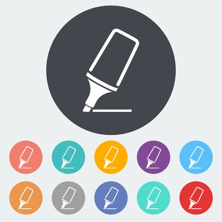 Marker. Single flat icon on the circle. Vector illustration. Vector