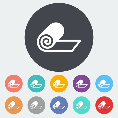Mat for fitness. Single flat icon on the circle. Vector illustration. Vector