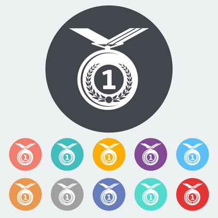 Icon medal. Single flat icon on the circle. Vector illustration. Vector