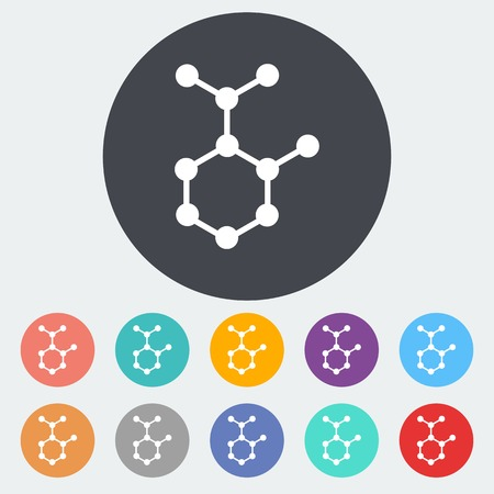 Molecule. Single flat icon on the circle. Vector illustration. Vector