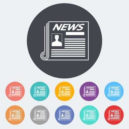Newspaper. Single flat icon on the circle. Vector illustration. Vector