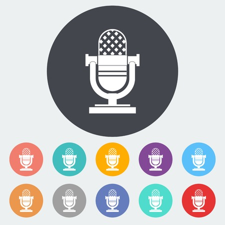 Vintage microphone. Single flat icon on the circle. Vector illustration. Vector