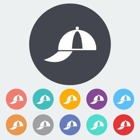 peaked cap: Peaked cap. Single flat icon on the circle. Vector illustration.