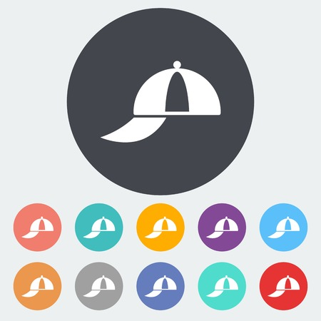 Peaked cap. Single flat icon on the circle. Vector illustration.