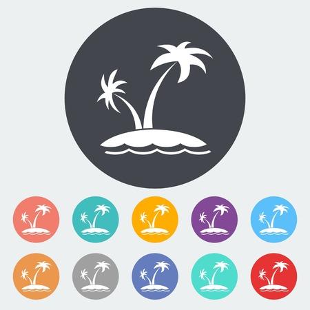 Palm tree. Single flat icon on the circle. Vector illustration. Иллюстрация