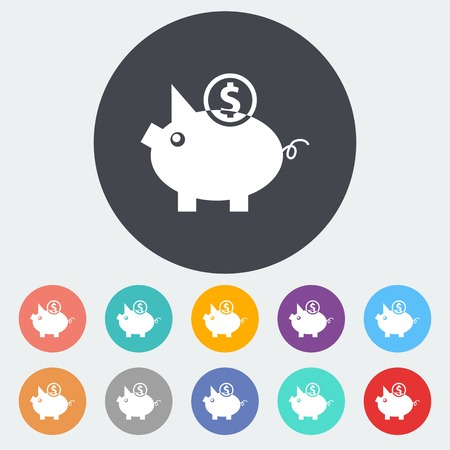economise: Piggy bank. Single flat icon on the circle. Vector illustration.