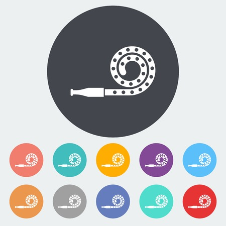 party horn blower: Party blower. Single flat icon on the circle. Vector illustration.