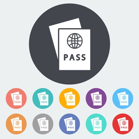 Passport. Single flat icon on the circle. Vector illustration. Vector