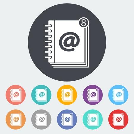 contact book: Contactar libro. Solo icono de plano sobre el c�rculo. Ilustraci�n del vector.