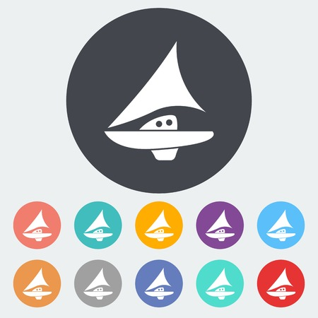 Yacht. Single flat icon on the circle. Vector illustration.