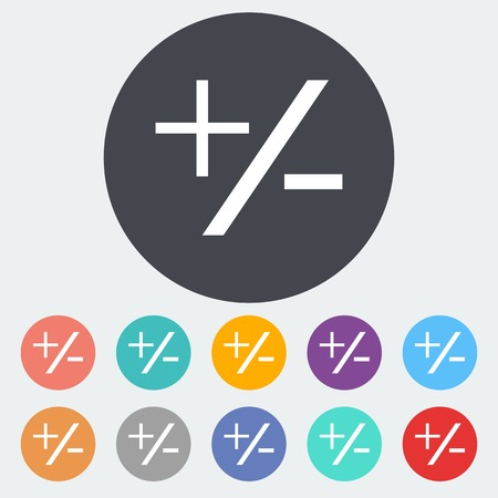 Plus minus. Single flat icon on the circle. Vector illustration. Illustration