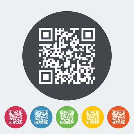 QR code. Single flat icon on the circle. Vector illustration. Vector