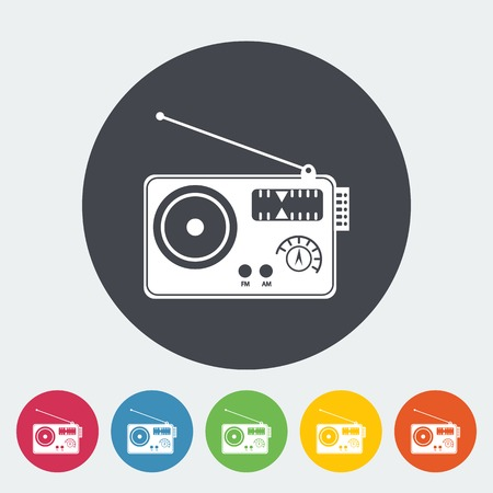 Radio. Single flat icon on the circle. Vector illustration. Vector