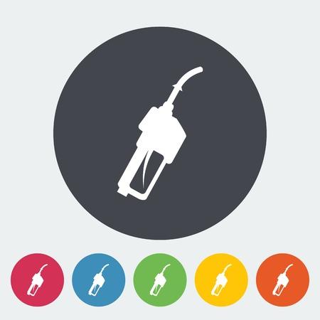 refueling: Refueling nozzle. Single flat icon on the circle. Vector illustration.