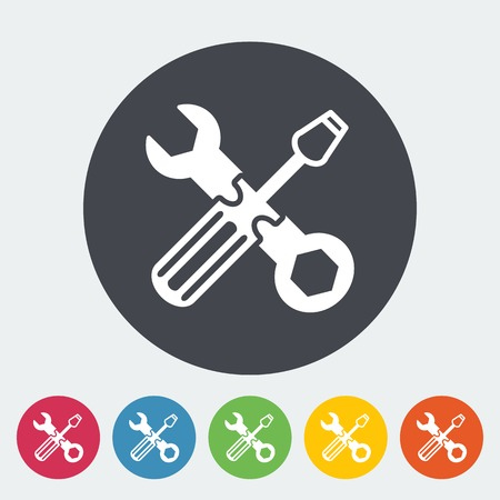 machanic: Repair. Single flat icon on the circle. Vector illustration. Illustration