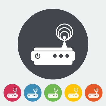 isdn: Router. Single flat icon on the circle. Vector illustration.