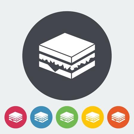 Sandwich. Single flat icon on the circle. Vector illustration. Vector