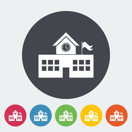 School building. Single flat icon on the circle. Vector illustration. Vector
