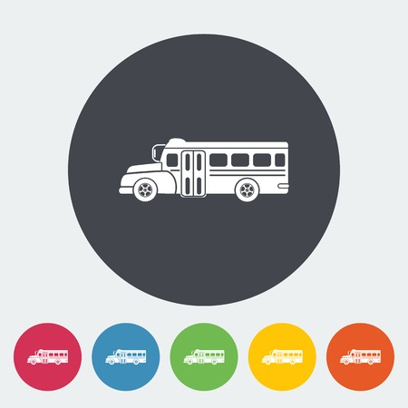 School bus. Single flat icon on the circle. Vector illustration. Vector