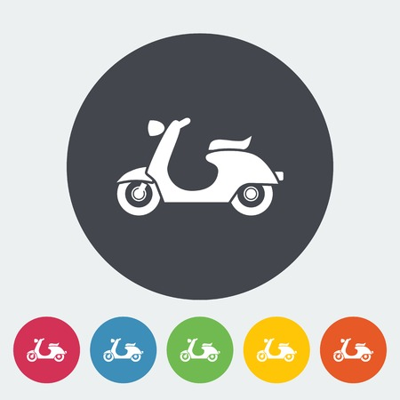 Scooter. Single flat icon on the circle. Vector illustration. Vector