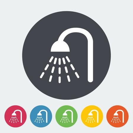 showering: Shower. Single flat icon on the circle. Vector illustration. Illustration