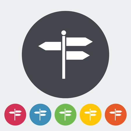 guidepost: Signpost. Single flat icon on the circle. Vector illustration.