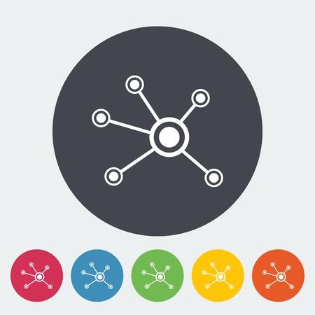 conectar: Red social. Individual ícono planos sobre el círculo. Ilustración del vector.