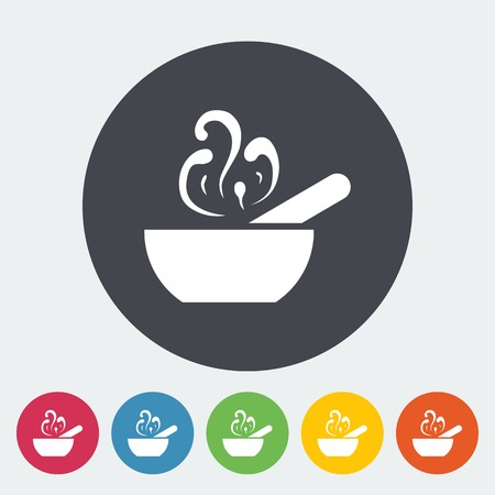Soup. Single flat icon on the circle. Vector illustration. Vector