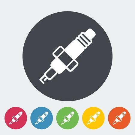 ampere: Sparkplug. Single flat icon on the circle. Vector illustration.