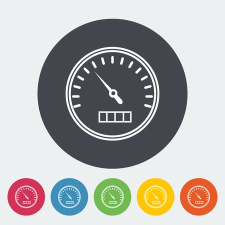 speedmeter: Speedometer. Single flat icon on the circle. Vector illustration.