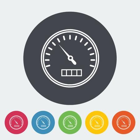 kph: Speedometer. Single flat icon on the circle. Vector illustration.