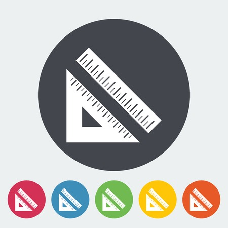 straightedge: Straightedge. Single flat icon on the circle. Vector illustration.
